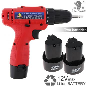 AC 100 - 240V Cordless 12V Electric Drill / Screwdriver with 2 Li-ion Batteries Adjustment Switch for Handling Screws / Punching cordless drill kraton cdl 12 2 h 12v 1 3 ah li ion 0 300 0 1050 min 15 9 nm in the case