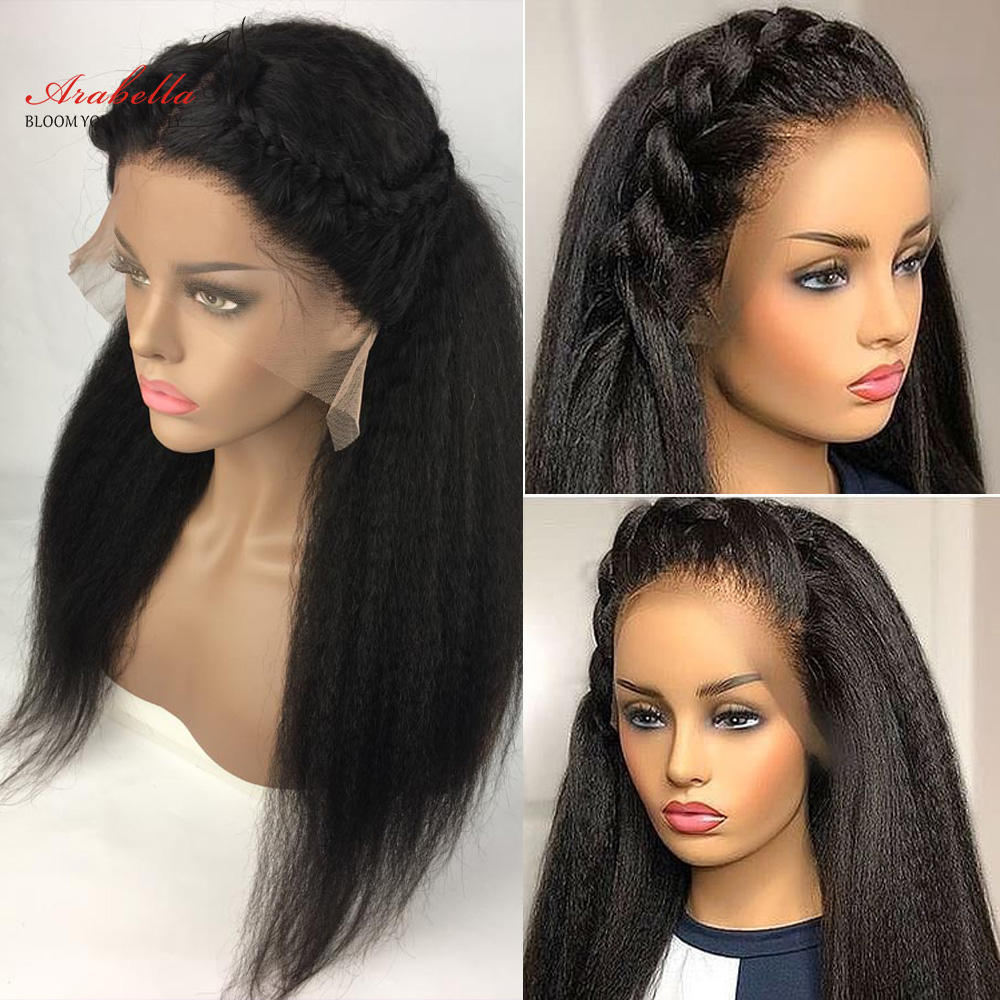 Kinky Straight Wig 13X4 Lace Front  Wigs With Baby Hair Arabella  Hair Pre Plucked Yaki Straight Lace Front Wig 4