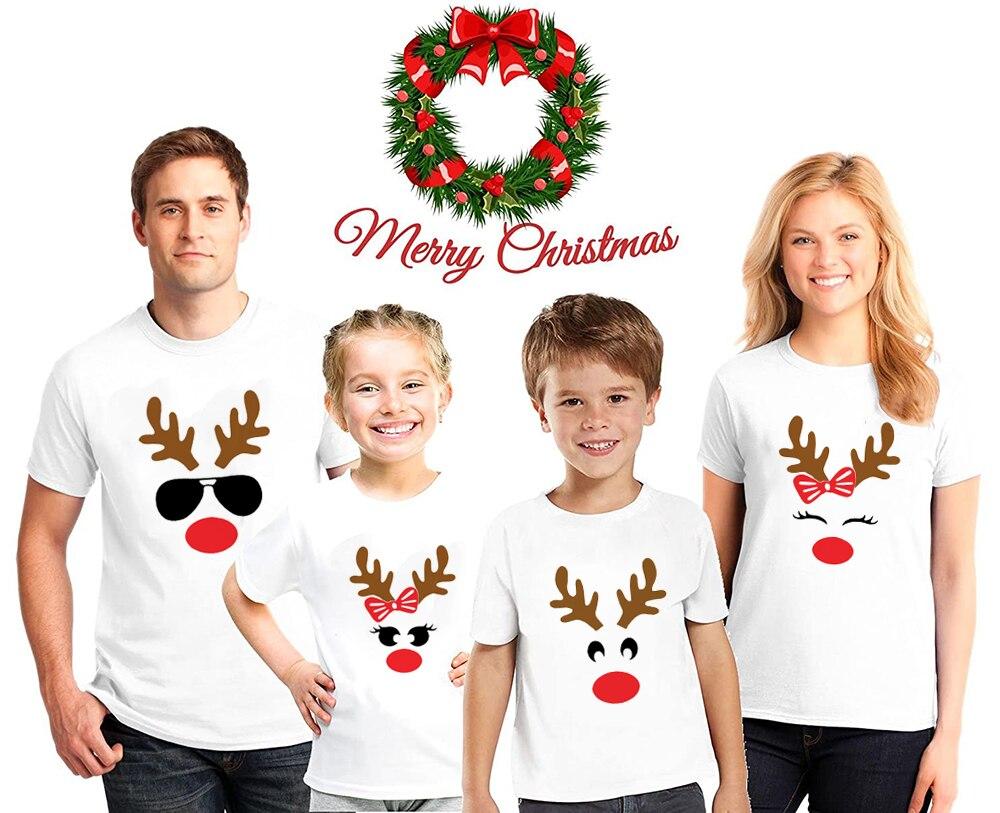 1 Pcs Christmas Deer Face Print Family Matching White T-shirt 2020 Xmas Fashion Dad Mom Tees Son Daughter T Shirts Party Tops