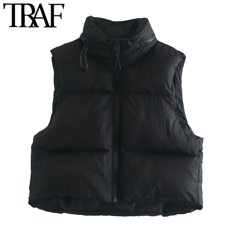 TRAF Women Fashion Hooded Hidden Inside Cropped Padded Waistcoat Vintage Sleeveless Zip up Female Outerwear Chic Tops