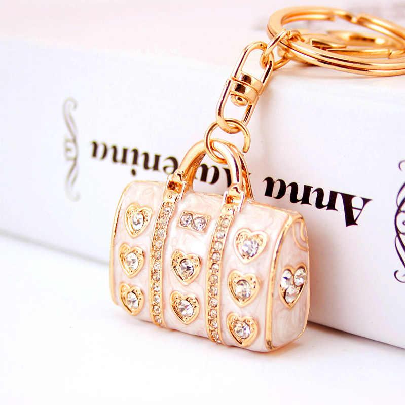 Dalaful Emaille Kristall Herz Handtasche Schlüsselanhänger Stilvolle Geldbörse Tasche Schnalle Anhänger Für Auto Schlüsselanhänger schlüssel ketten halter frauen K234