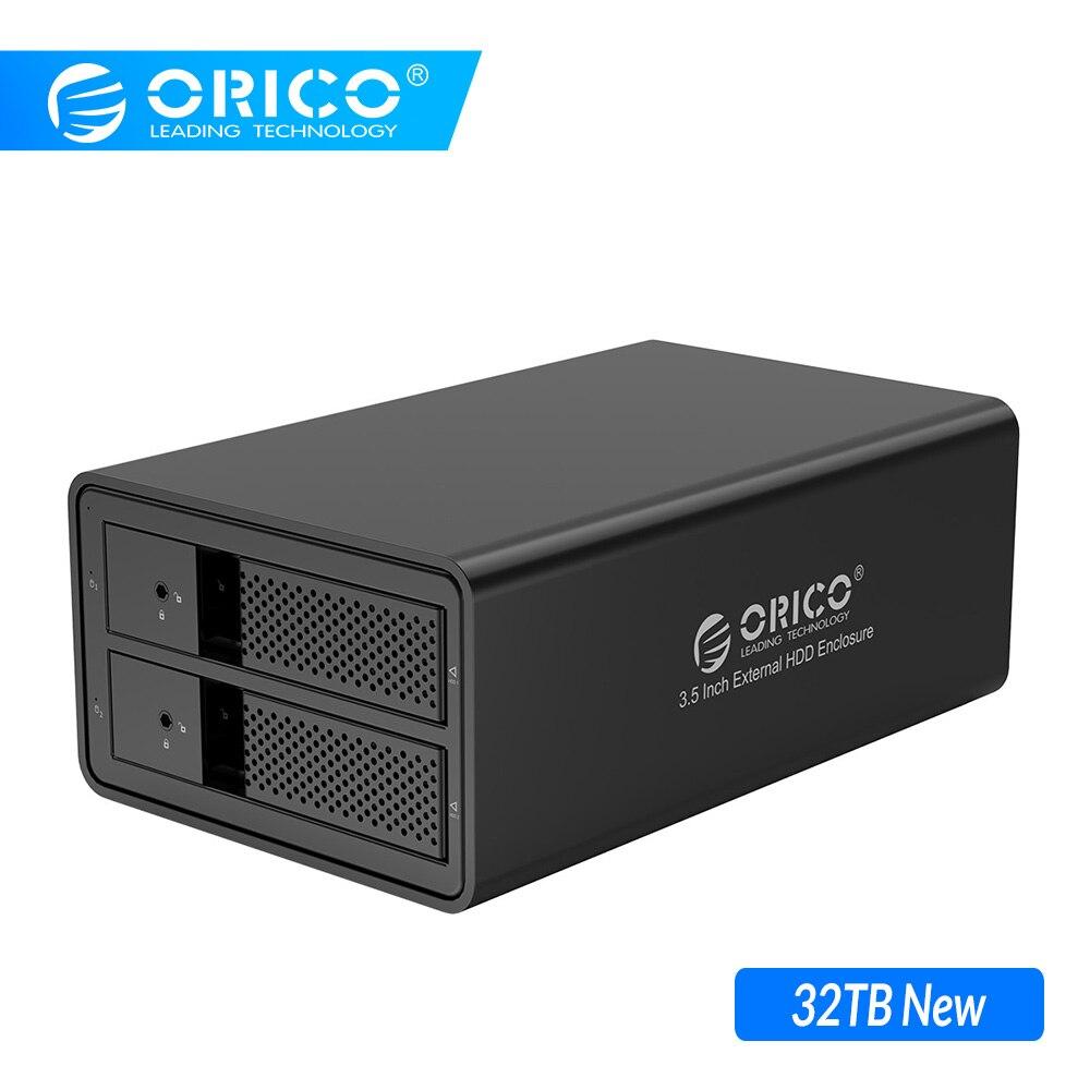 ORICO HDD чехол алюминиевый 2 отсека 3,5 ''USB3.0 HDD док-станция Поддержка 32 ТБ UASP с 36 Вт внутренний адаптер питания SATA для USB 3,0