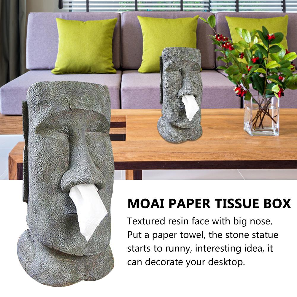 MOAI Paper Tissue Box Easter Island Stone Statue Face Portrait Tissue Box Resin Snot Type Removable Container Paper Towel Holder