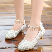 2019 Fashion Bling Party Princess Shoes Girls Leather Flower Casual Glitter Children High Heel School