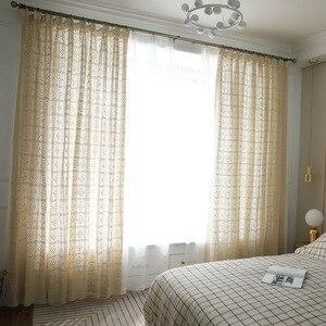 Image 2 - الحديثة مخرمة الدانتيل الستائر لغرفة المعيشة البيج/الأبيض حك الجوف خارج نافذة الستائر للشرفة يمكن سماط X M181 #40