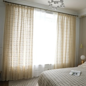 Image 2 - Modern Openwork Lace Curtains for Living Room Beige/White Knit Hollow out Window Drapes for Balcony Can Be TableCloth X M181#40