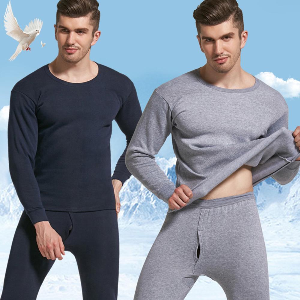 Men's Casual Thermal Underwear Middle Collar Pure Color Suit Shirt+pants 2 Piece Set Warm Thick Plus Velvet Clothing #VD12127
