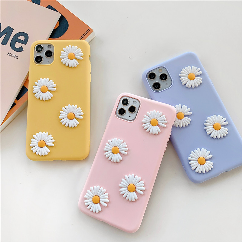 Cute 3D Daisies Flower Candy Cover Fashion Mobile Phone Case For Samsung Galaxy S10 S20 Ultra Plus A51 A71 A21 A11 A01 Soft Capa