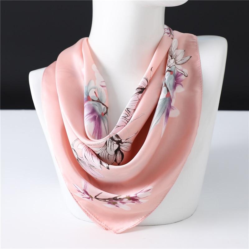 Spring Neck Scarf Silk Shawls Lady Hair Band Elegant Floral Scarves Foulard Bandana 70*70cm Square Neckerchief
