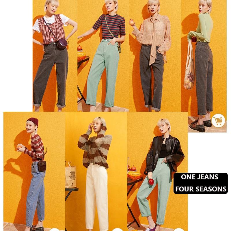 Image 3 - Samstree Blue Solid Pocket Side High Waist Retro Leisure Jeans  Women 2019 Autumn Green Black Straight Korean Female Denim PantsJeans