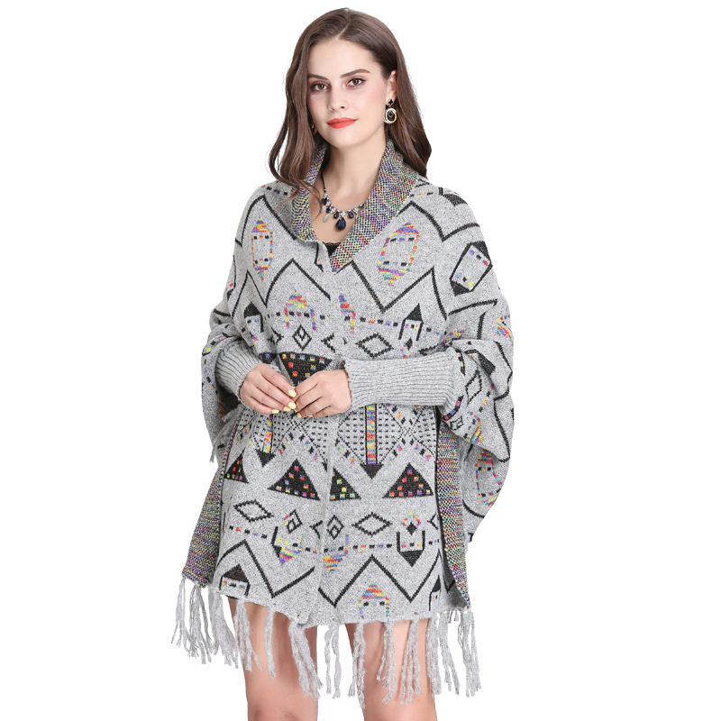 2019 Outside Streetwear Geometric Printed Cloak Winter Knitted Thick Tassel Poncho Women Long Sleeves Pashmina Warm Shawl in Women 39 s Scarves from Apparel Accessories