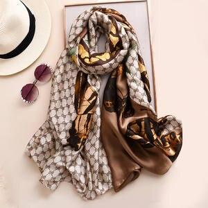 Silk Scarf Shawls Foulard-Bandana Neck-Scarves Pashmina Winter High-Quality Lady Brand Designer