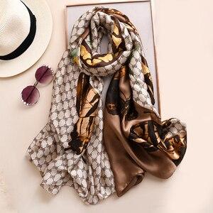 Brand Designer Silk Scarf High Quality Foulard Bandana Long Lrage Shawls Wrpas Winter Neck Scarves Pashmina Lady Hijab 2020 New