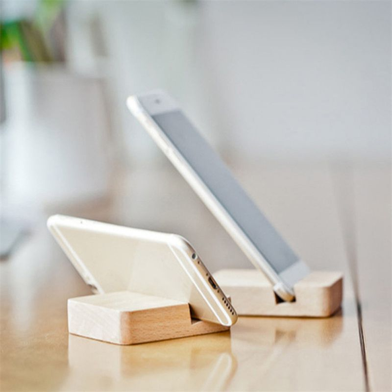 Wooden Phone Tablet Stand Smartphone Holder Small Portable Durable Desktop Bracket