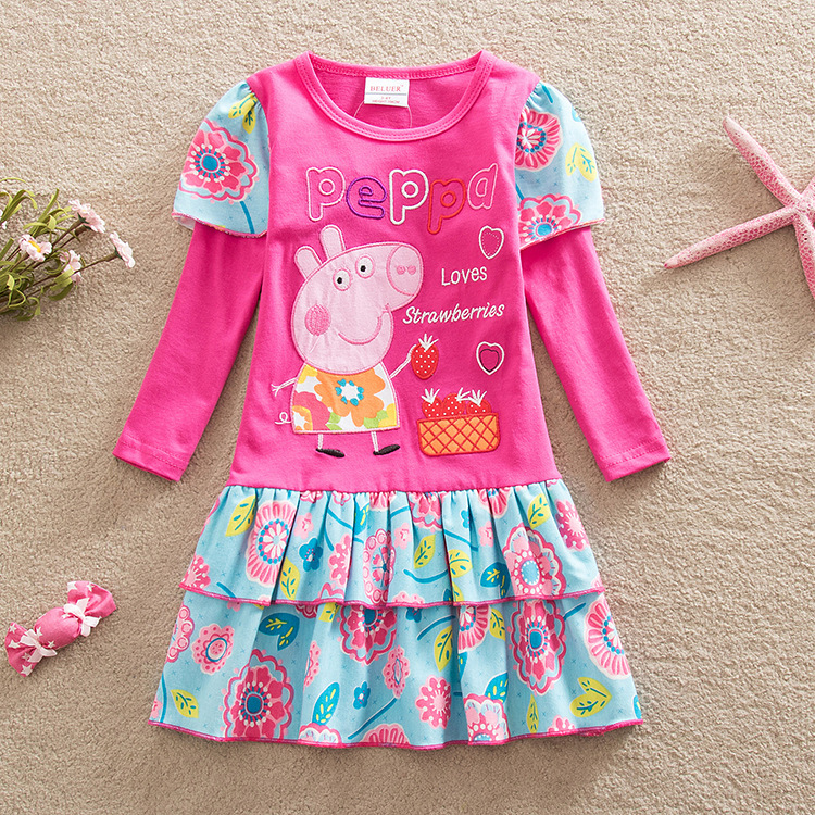 Peppa Pig Children Baby Girl Autumn Winter Princess Long Sleeve Skirts Clothes Fashion Cotton Girl Baby Dress Skirt Dresses 3-8Y