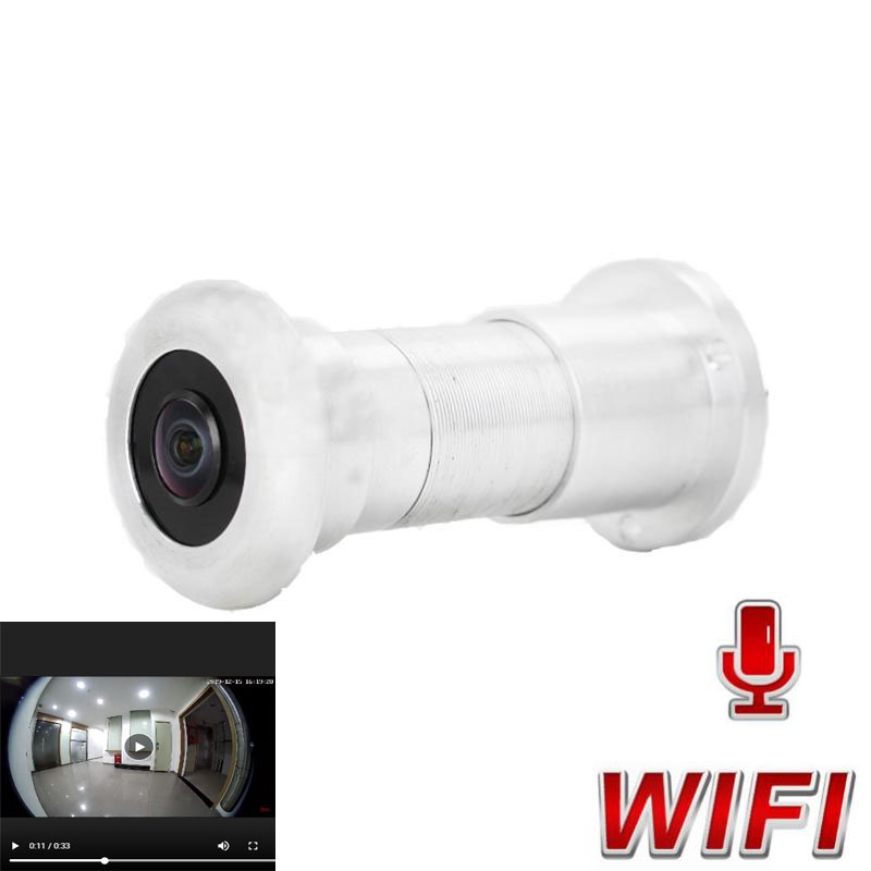 WiFi Door Eye Hole Security HD 1080P 1.44mm Lens Wide Angle FishEye CCTV Network Mini Peephole Door WifI P Camera P2P TF Card