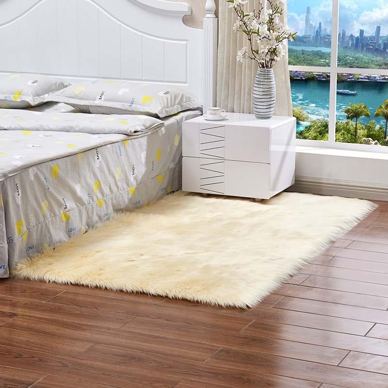 Очень мягкие прямоугольные коврики из искусственного меха овчины для спальни, напольный ворсистый шелковистый плюшевый ковер, белый ковер из искусственного меха, прикроватные коврики - Цвет: light yellow
