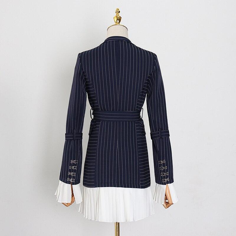 TWOTWINSTYLE elegante raya Patchwork blazer con volante con muesca manga de llamarada de Color de golpe fajas traje femenino primavera moda nuevo 2020 - 2
