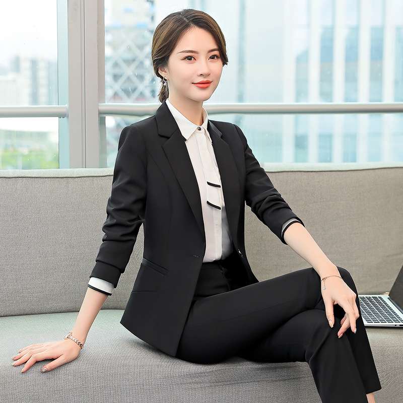 Ladies suits autumn and winter new fashion single buckle Slim professional wear slim trousers temperament women's two-piece suit