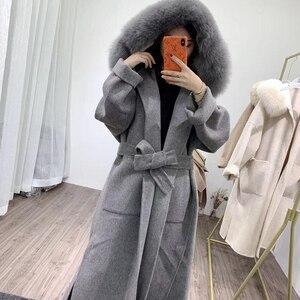 Image 2 - OFTBUY 2020 אמיתי פרווה מעיל חורף מעיל נשים טבעי פרוות שועל צווארון הוד קשמיר צמר תערובות x ארוך הלבשה עליונה streetwear קוריאה