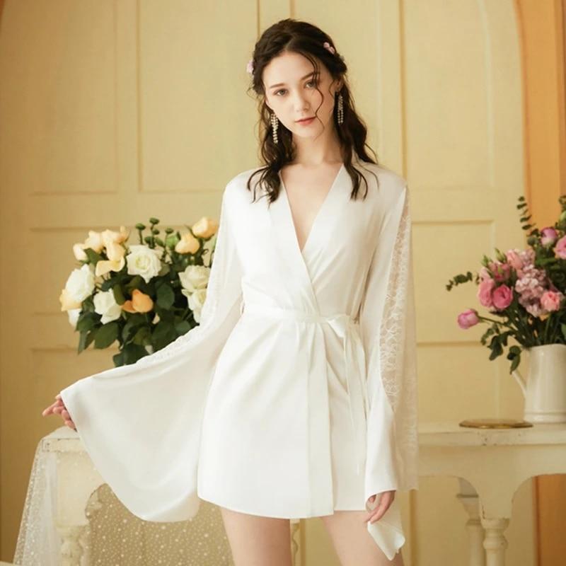 White Ladies Silky Satin Lace Robe Sexy Bathrobe Lingerie Night Mini Robe Sleeprobe Nighty Long Sleeve Wedding Bride Dress Gown Robes Aliexpress
