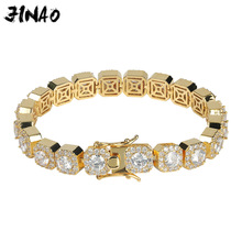 JINAO 1 Row Gold Silver color AAA 10mm Cubic Zirconia Paved All Iced Out Tennis Bling Lab CZ Stones Bracelet