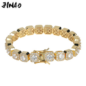 Image 1 - JINAO 1 Row Gold Silver color AAA 10mm Cubic Zirconia Paved All Iced Out Tennis Bling Lab CZ Stones Bracelet