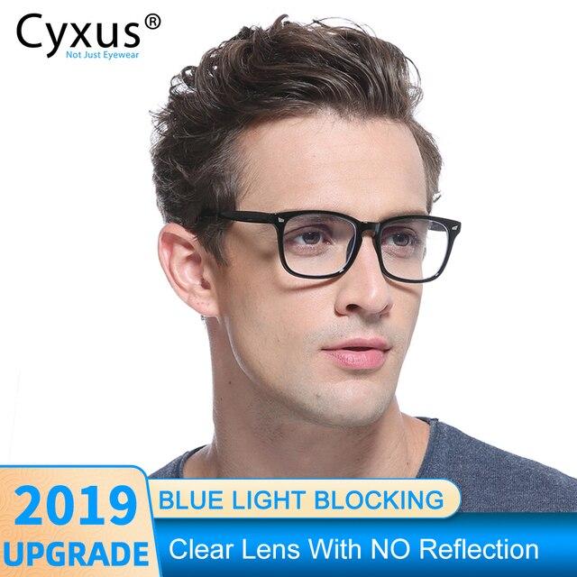 Cyxus مكافحة الأزرق ضوء نظارات الكمبيوتر ل مكافحة العين العين غطاء شفاف للهاتف عدسة TR90 إطار ترقية للرجال النساء نظارات 8182