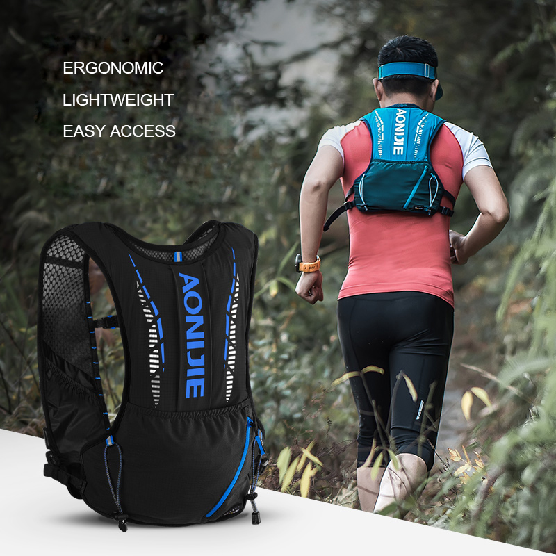 AONIJIE C9102 Black Ultra Vest 5L Hydration Backpack Pack Bag Soft Water Bladder Flask Hiking Trail Running Marathon