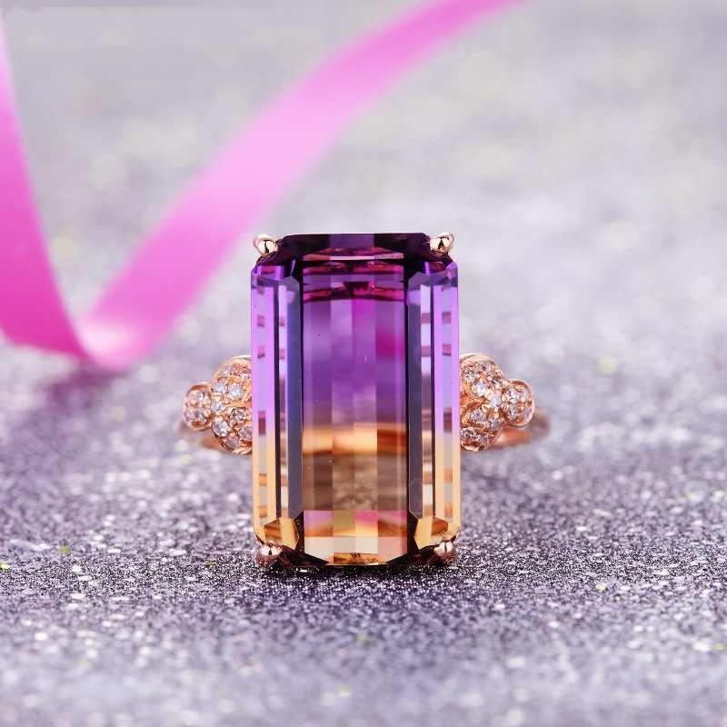 Tisonliz luxo grande quadrado cristal feminino anéis zircon pedra casamento noivado banda anéis rosa ouro festa jóias transporte da gota
