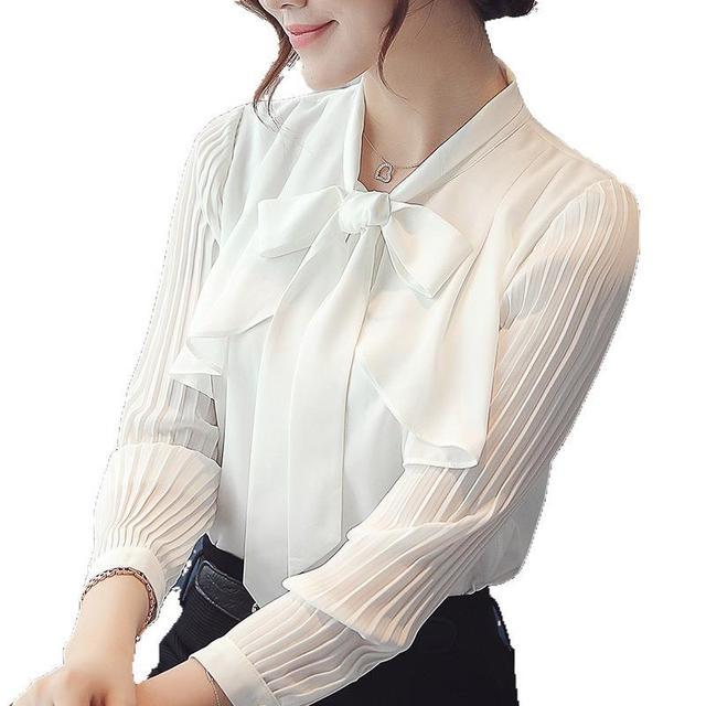 Elegant New Korean Chiffon White Shirt Summer Bow Tie Collar Ruffle Slim Office Blouse Women Casual Top Work Ropa Para Mujeres 5