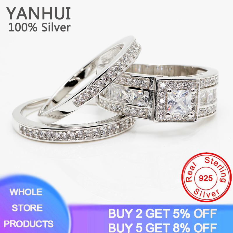 YANHUI New Design Fashion 3pcs Crystal Ring Set Luxury Stacking Rings For Women Sterling Silver 925 Wedding Jewelry Women Gift