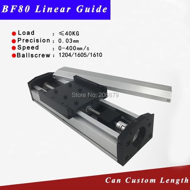 Free Ship 50 400mm Effective Stroke 1204 1605 1610 Ballscrew Sealed Dustproof Linear Guide Rail Motion Slide Module CNC XYZ Aixs