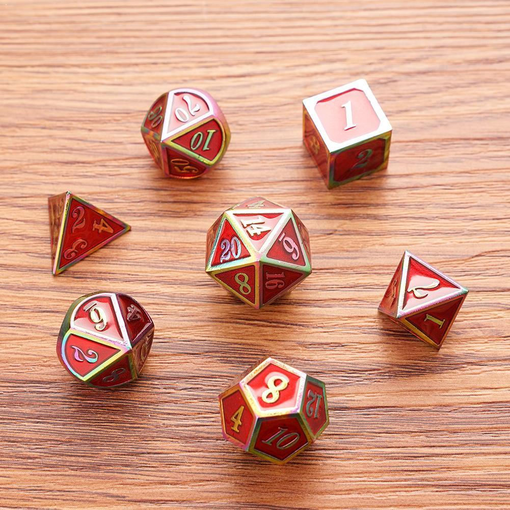 Dnd Metal Game Dice Set With Rainbow-colored Edges Dungeons Dragons 7 In Numbers Games And Suitable For Children And For Ta X0K3
