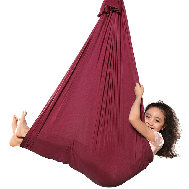 Multifunctional Elastic Kids Children Hanging Cuddle Wrap Swing Seat for Autism ADHD ADD Therapy Aerial Yoga Hammock 5