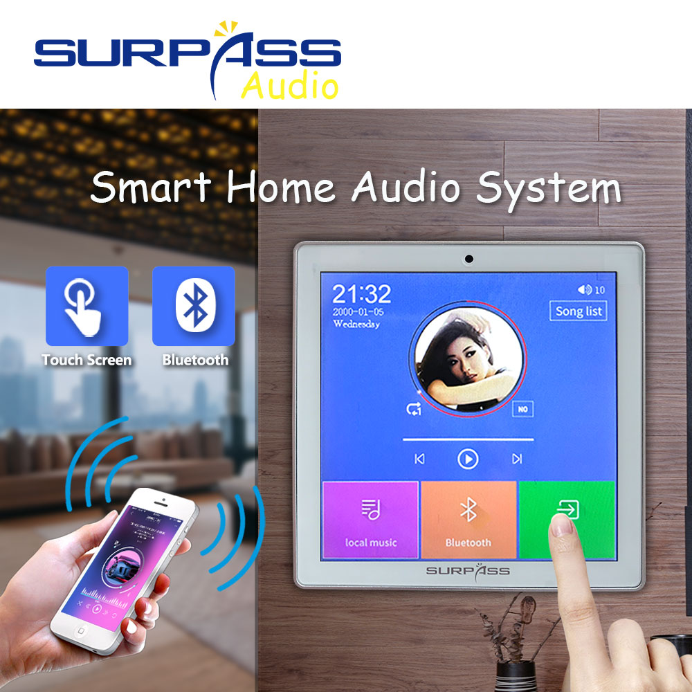 Smart Home Audio 2/4 Channel Wireless Bluetooth Mini Amplifier 4'' Touch Screen FM Radio AUX TF Card Function In Wall Amplifier