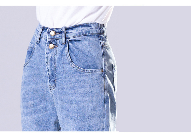 KSTUN FERZIGE high waist jeans women cotton mom jeans cropped Pants loose fit light blue double bottons boyfriend jeans for women 18