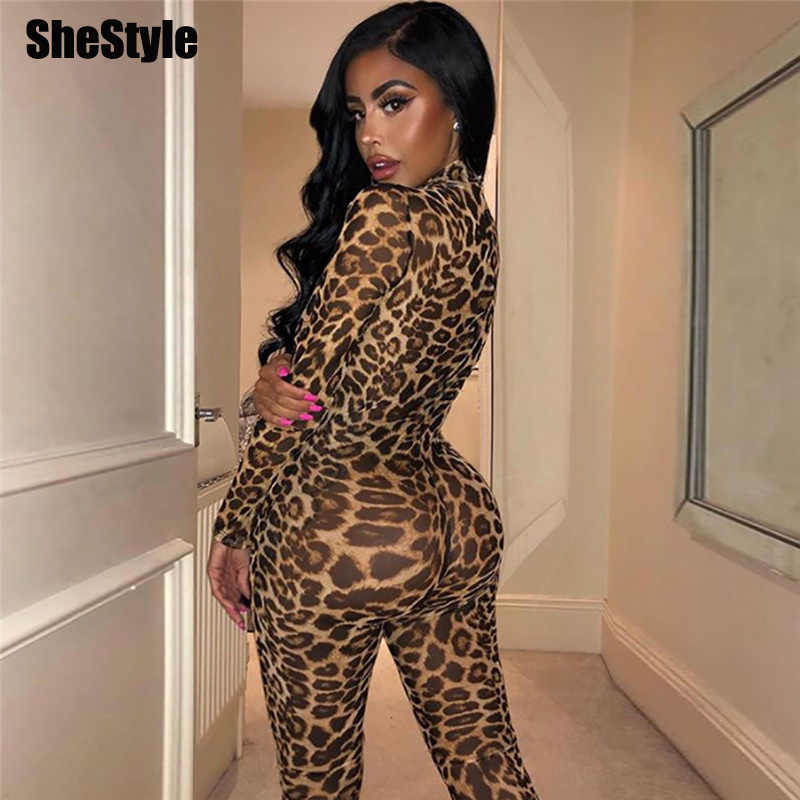 Shestyle Leopard Mesh transparente Jumpsuit mujeres 2019 amarillo ceñido elástico Long Animal monos Sexy mujer Dropshipping