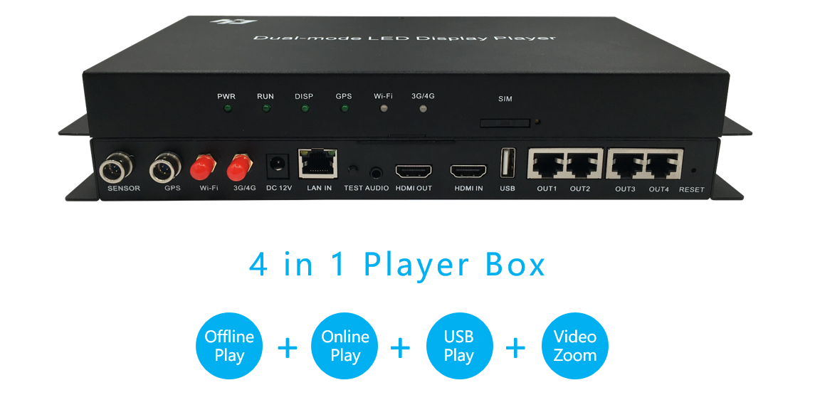 Image 2 - Huidu HD A6 Asynch & Synch Large LED Video Display Player, Dual Mode LED Video Controller 4 in 1 player(WIFI/4G expend support)LED Displays   -