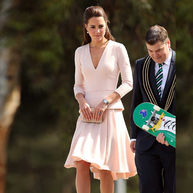 Kate Middleton High-End Aanpassingen Big Size Nieuwe Mode Elegante Formele Office Lady Werkplek Lange Mouw Roze Pak Jurk