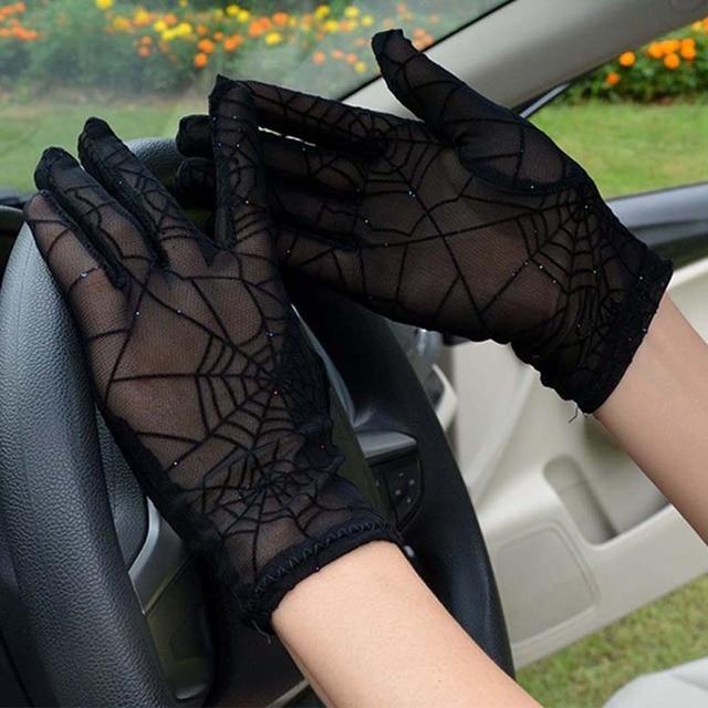 Fashion Women Gloves Sexy Summer Female Full Finger Short Lace Gloves Women Driving Spider Web Pattern Sun Anti-UV Black Gloves 4