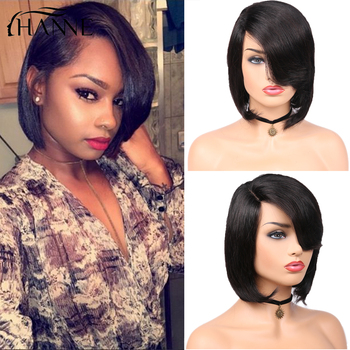 HANNE Hair Short Natural Black Bob Wigs for Black Women with Oblique Bangs Straight Wigs Free Shipping Free Gifts Fast Delivery free shipping wigs