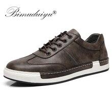 BIMUDUIYU גברים אופנה בעבודת יד נעליים יומיומיות גדול גודל 38 48 sneaker לגברים חיצוני עור תחרה עד נעלי גברים של נעליים שטוחות