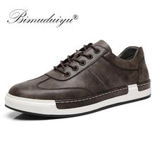 BIMUDUIYU Men Fashion Handmade Casual Shoes Big Size 38 48 Sneaker for Men Outdoor Leather Lace Up Footwear Mens Flat Shoes