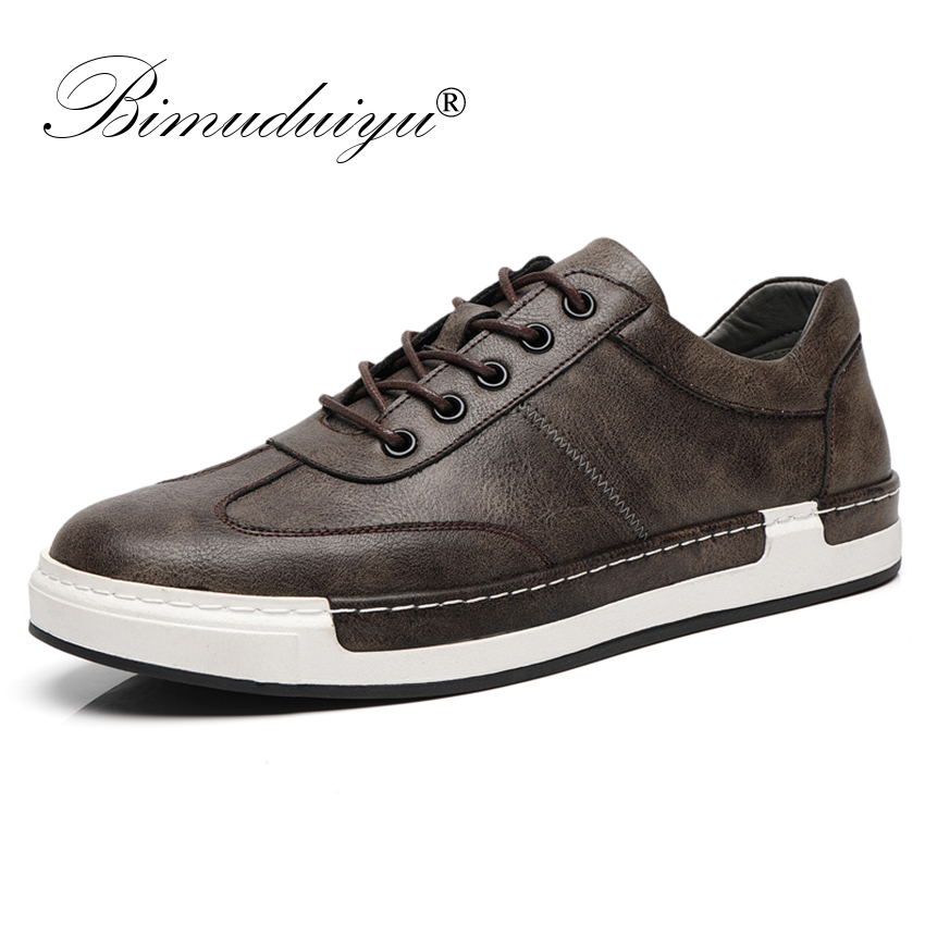 BIMUDUIYU Men Fashion Handmade Casual Shoes Big Size 38-48 Sneakers For Men Outdoor Leather Lace Up Footwear Men's Flat Shoes