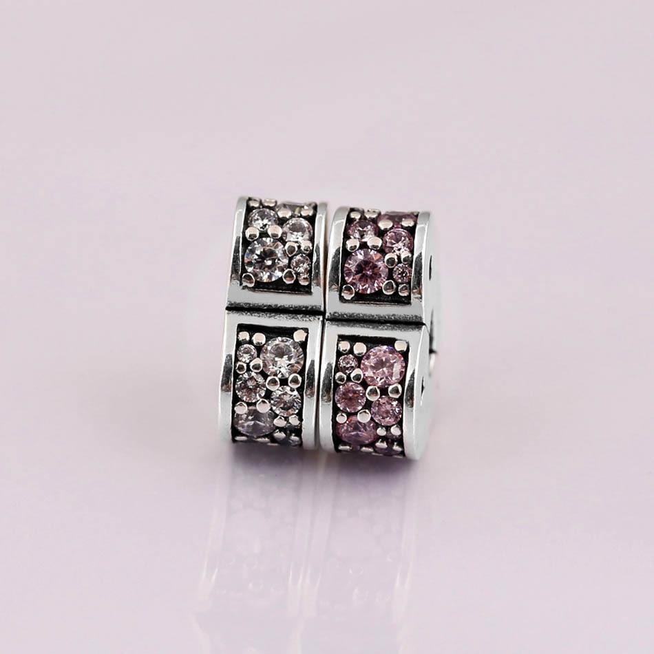 Original Pink & Clear Arcs of Love Heart Clip Lock Stopper Bead Fit 925 Sterling Silver Bead Charm Bracelet Diy Jewelry