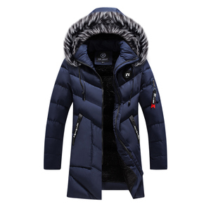 Image 5 - Winter Jacket Men Fashion Casual Slim Dikke Warme Jassen Heren Parka Met Capuchon Lange Overjassen Man/Vrouwen Bontkraag parka Uitloper