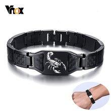 Vnox Personalisieren Herren Stilvolle Skorpion Quer Schild Bilder Kette Armbänder mit Einzigartige Carbon Fiber Custom Schmuck Geschenke für Ihn