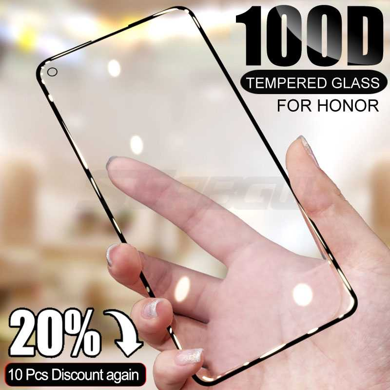 100D Anti Gores untuk Huawei Honor 20 10 Lite 30 30S 20S 20i Pelindung Layar untuk Kehormatan 20 pro V20 V30 Pro Film Pelindung