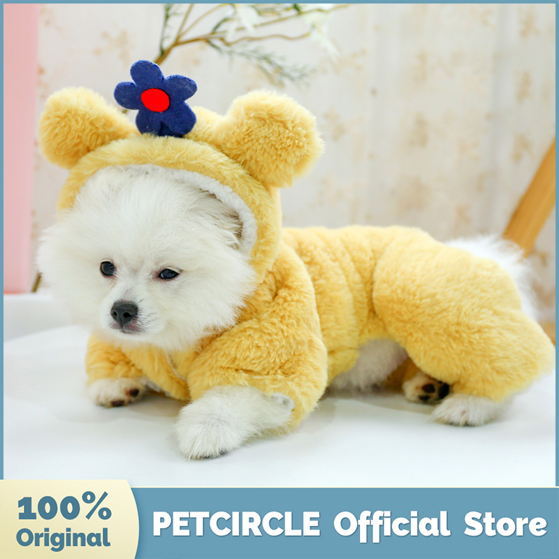8.17US $ 25% OFF PETCIRCLE Dog Puppy Clothes Yellow Chubby Flower Four leg Cotton Coat For Small Dog...